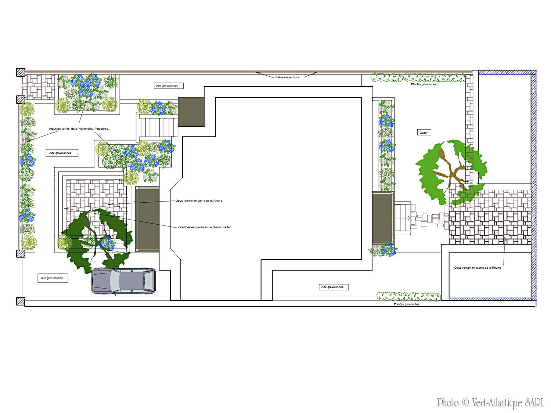 plan d'aménagement de jardin à l'échelle avec plan de plantation et légendes
