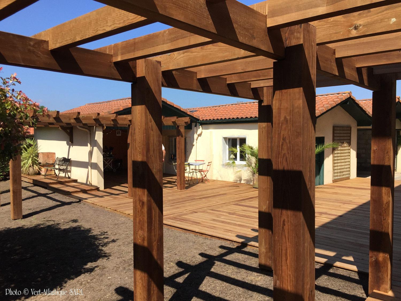 Pergola et terrasse en bois, Pin des Landes