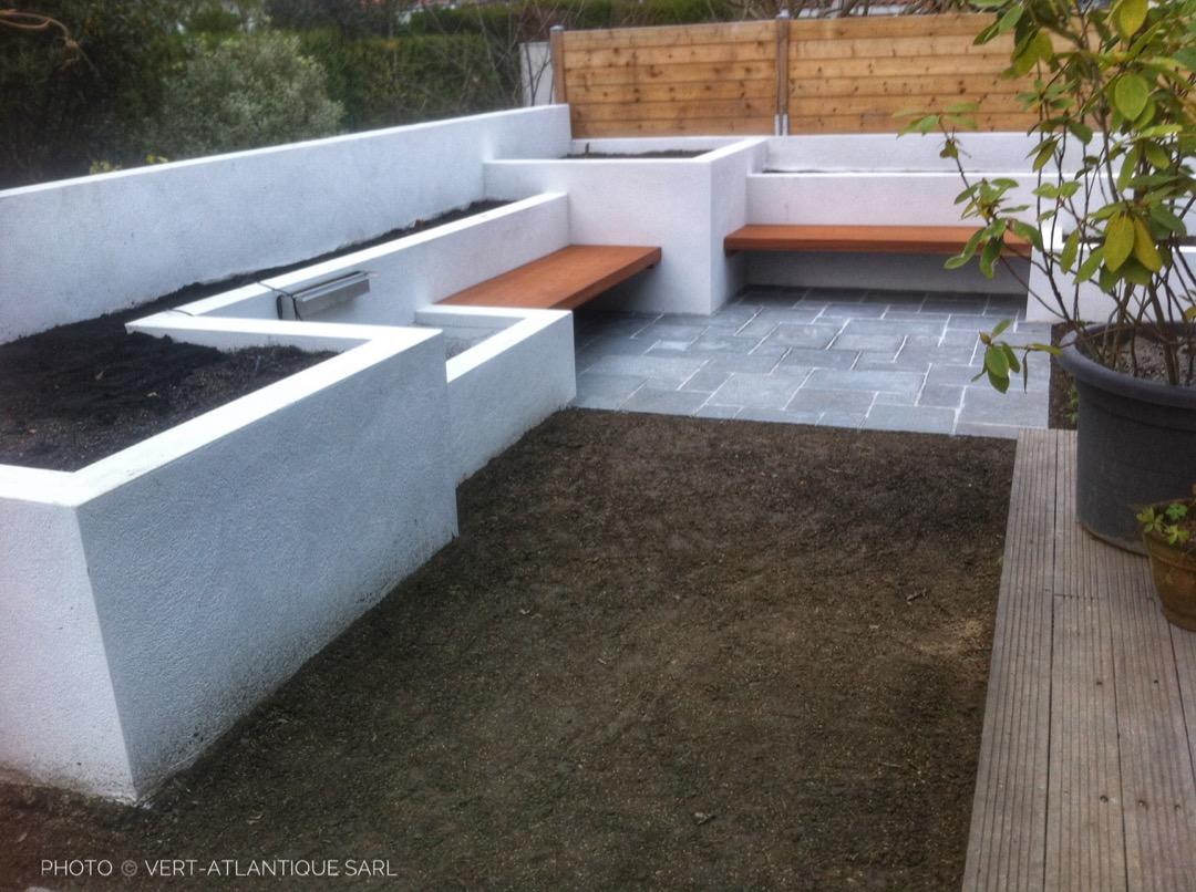 Jardinières maçonnées-Banc-Bois-Terrasse